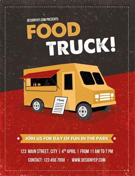 Freepsdflyer Download Food Truck Free Flyer Psd Template Food Truck Flyer Template