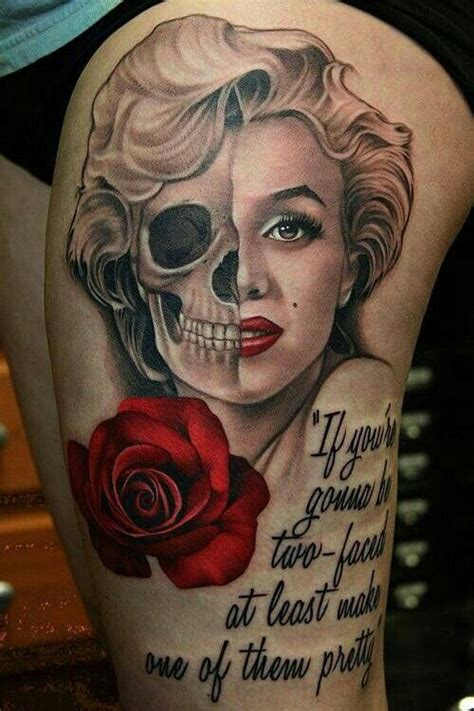 marilyn monroe day of the dead tattoo half skull sweet tatts