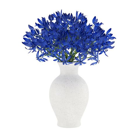 Blue Vase With Flowers by Blue Flowers In White Vase 3d Model Max Obj Fbx C4d