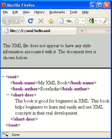 xml tutorial roseindia hello world xml