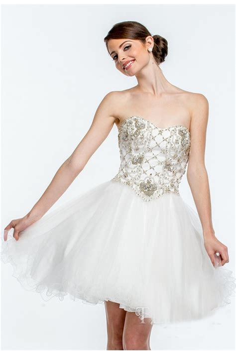strapless beaded prom dress princess gown strapless white tulle beaded