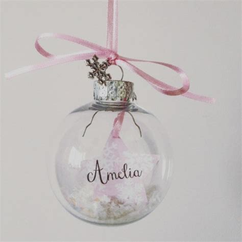 clear baubles personalised clear snow filled bauble