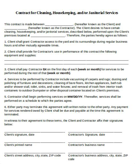 cleaning business contract template 7 cleaning contract templates free sles exles