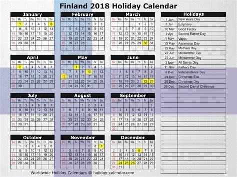 Finland Calend 2018 Finland 2018 2019 Calendar