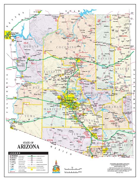 arizona road map arizona state road map arizona us mappery