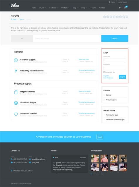 themeforest forum vilan corporate shop forum wordpress theme by disgogo