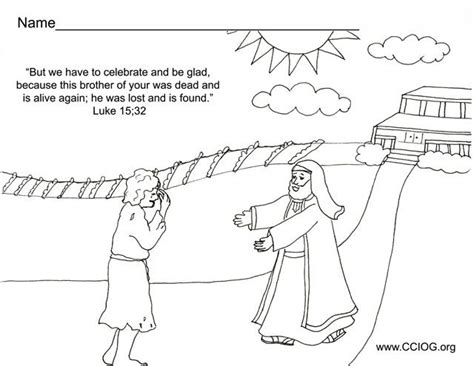 prodigal son coloring pages preschool prodigal son returns bible stories crafts pinterest