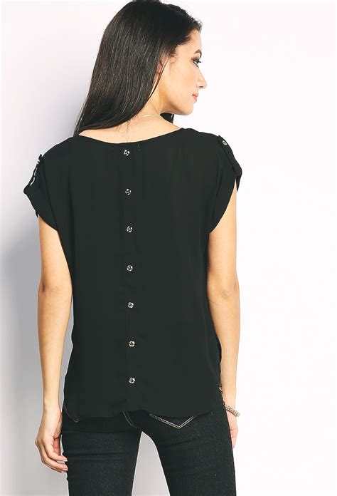 button top back button chiffon top shop tops at papaya clothing