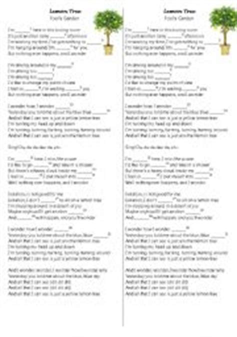 testo lemon tree teaching worksheets present continuous song