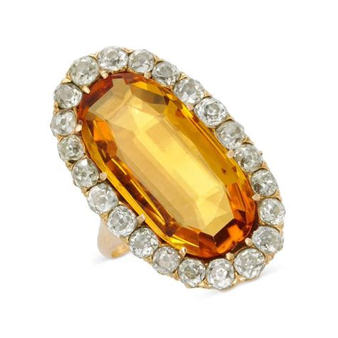 an antique imperial topaz and ring circa 19th