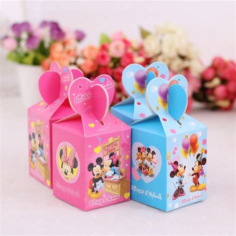 Baby Shower Bags And Boxes by 50pcs Wedding Favor Boxes Minnie Mickey Box For