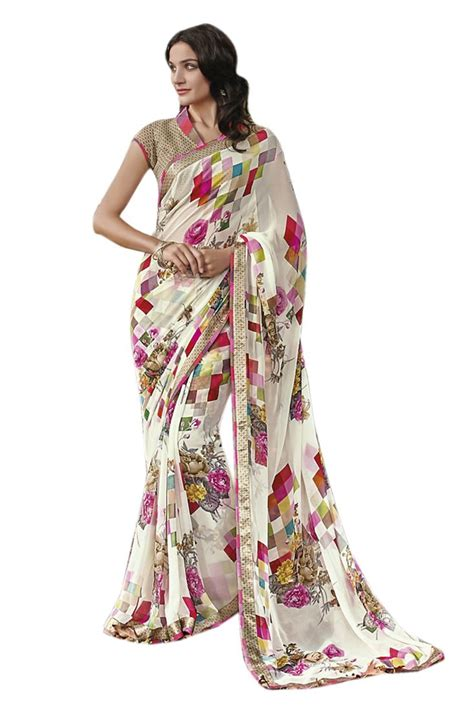 A8 Didita Blouse Jumbo dull white digital printed georgette foil printed with brocade blouse saree