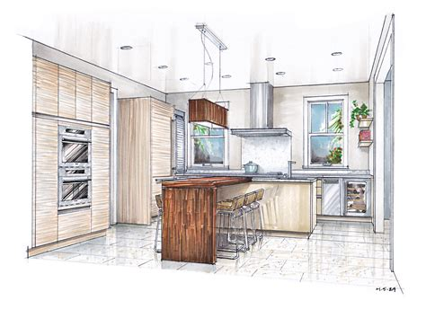 kitchen design sketch sketch drawing of a kitchen with island google search