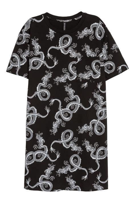 Hm Pocket Shirt Dress Black printed t shirt dress black dragons sale h m us