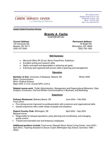 Resume Sle With Limited Work Experience Build Resume Free Excel Templates
