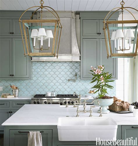 robins egg blue tiles cottage kitchen sherwin williams retreat house beautiful
