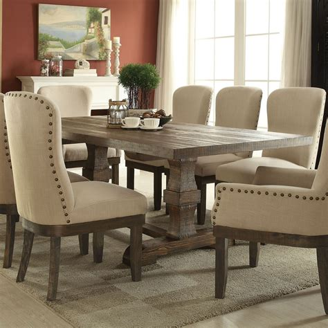 dining room outlet coupon acme landon trestle dining table in salvage brown 60737a