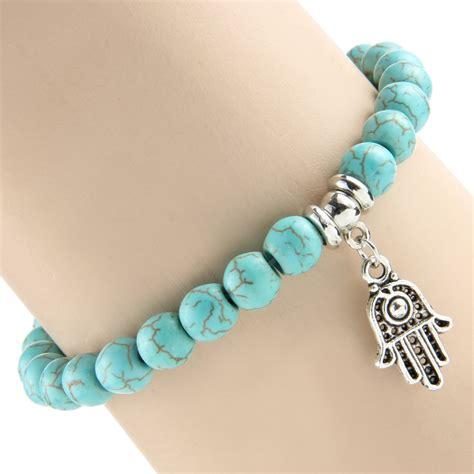 natural turquoise stone hand of fatima natural turquoise stone bracelet ice moda