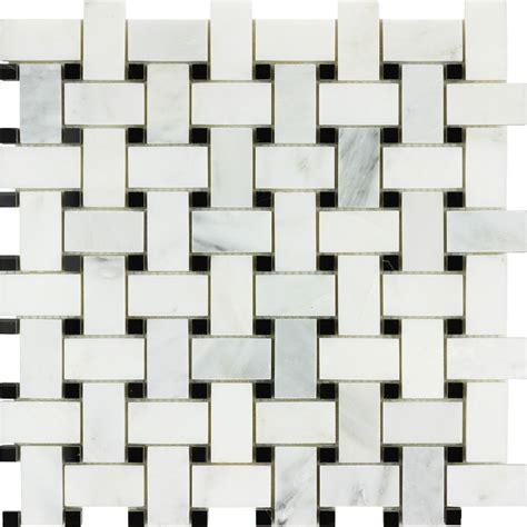 bianco carrara nero marquina marble basketweave mosaic