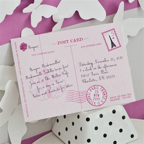 glamorous paris postcard parisian party invitation