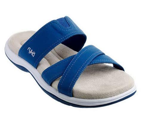 qvc ryka sandals ryka cross slide sandals w memory foam footbed