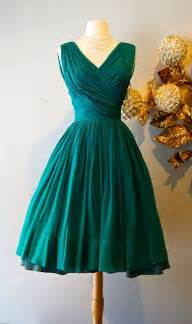 vintage 50 s emerald green silk chiffon cocktail party