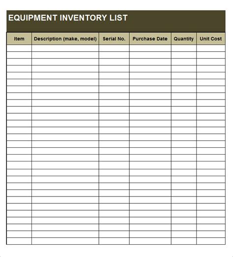 equipment list template equipment inventory template 10 free word excel pdf