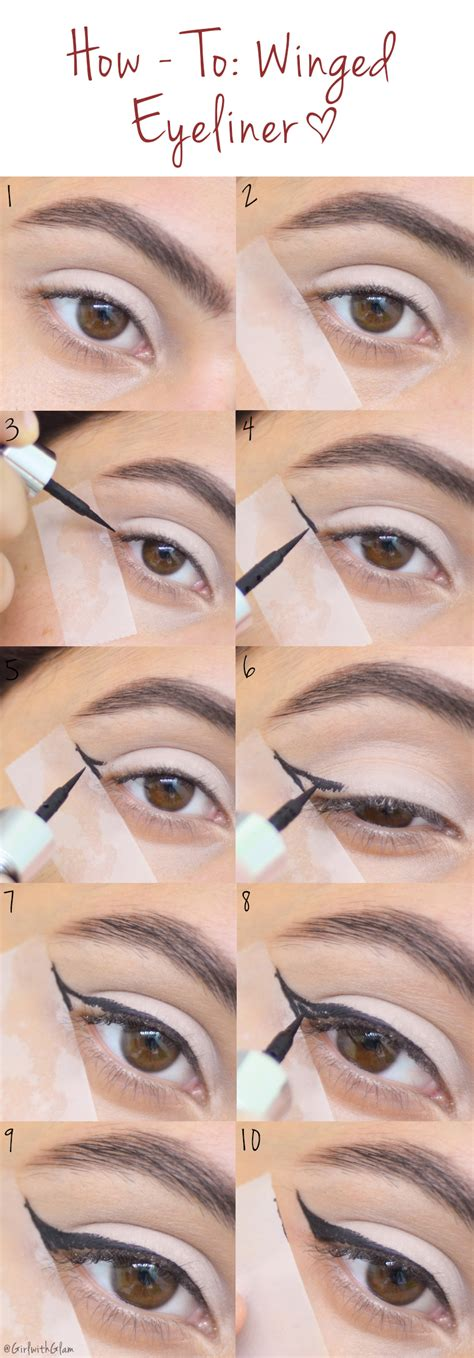 eyeliner tutorial tape girl with glam how to winged eyeliner tape method