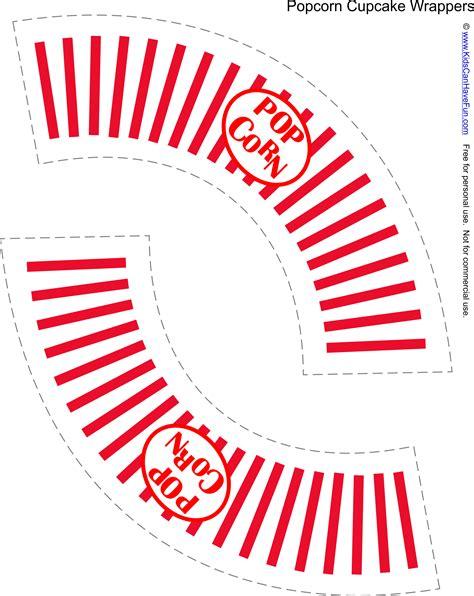 popcorn wrapper template free free popcorn cupcake wrapper http www kidscanhavefun