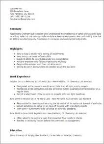 Chemistry Lab Technician Cover Letter by Professional Chemistry Lab Assistant Templates To Showcase