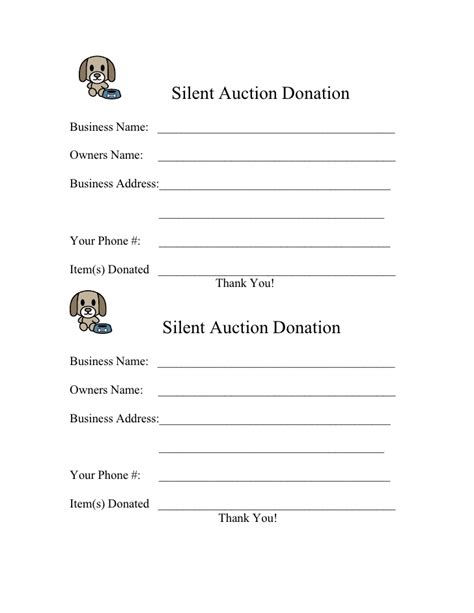 silent auction donation form template form for 2009 silent auction donation