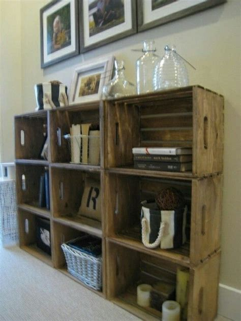 milk crate shelf wooden crate ideas