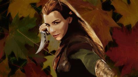 wallpaper elf girl elf girl evangeline lilly hobbit leaves photo manipul
