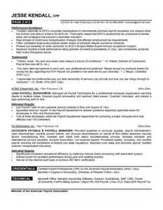 Payroll Resume Sles by Payroll Sle Resume