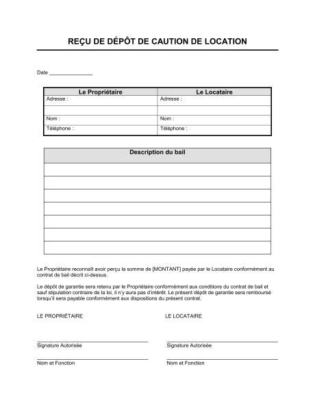 Exemple De Lettre Garantie Locative modele quittance acompte document