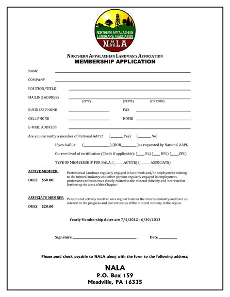 membership application template northern appalachian landman s association membership