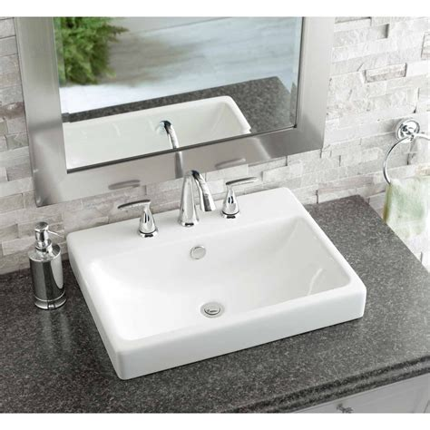 rectangular drop in bathroom sink shop jacuzzi anna white ceramic drop in rectangular