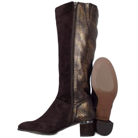 elysess verbier fashion knee high boots snake skin