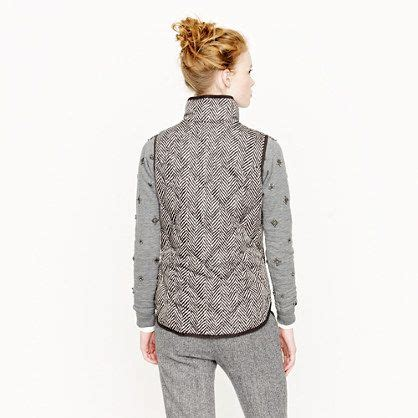 Excursion Quilted Vest In Herringbone by J Crew Quilted Excursion Puffer Vest In Herringbone Size