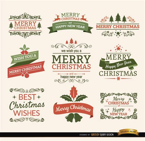 merry christmas ribbons  labels set vector