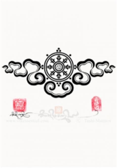 dharmachakra tattoo designs dharma wheel with ribbon cloud design tashi mannox