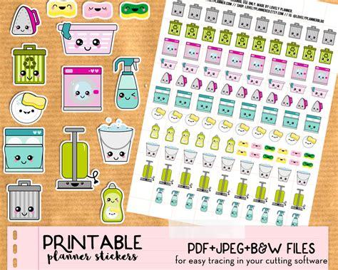 printable planner kawaii kawaii trash bins stickers free printable and cut file