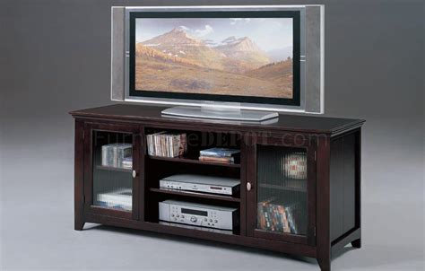 Tv Stands With Glass Doors by Espresso Finish Modern Tv Stand W Framed Glass Doors