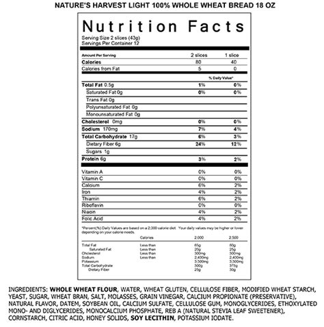 2 whole grain toast calories honey wheat bread nutrition facts