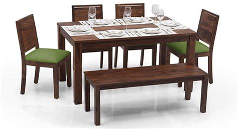 dining room table sets with bench arabia oribi 6 seater dining table set with bench