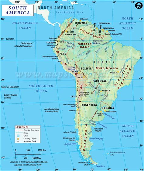 south america map in map of south america free large images