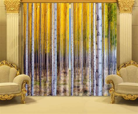 poppy colored curtains birch printing 3 d digital curtain fabrics printed