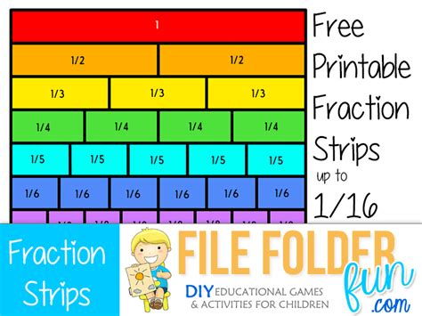 printable games with fractions free printable fraction strips our free printable