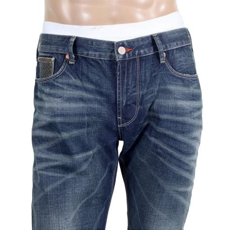 mens comfort waist jeans shop for armani jeans with worn finish at niro fashion