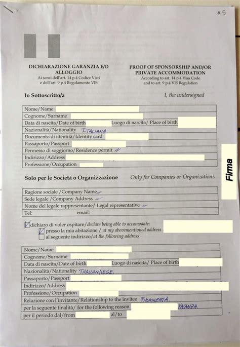 lettere di invito per turismo visto schengen per thailandese
